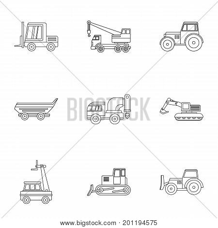 Industrial heavy vehicle icon set. Outline set of 9 industrial heavy vehicle vector icons for web isolated on white background