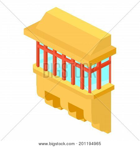 Yellow balcony icon. Isometric illustration of yellow balcony vector icon for web