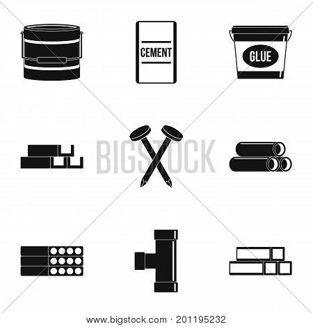 Building material icon set. Simple set of 9 building material vector icons for web isolated on white background