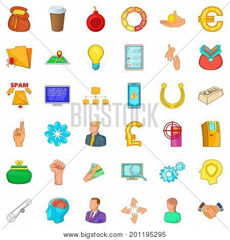 Command icons set. Cartoon style of 36 command vector icons for web isolated on white background