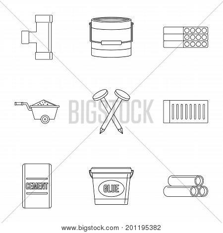 House construction tool icon set. Outline set of 9 house construction tool vector icons for web isolated on white background