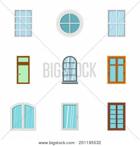 Architecture window icon set. Flat set of 9 architecture window vector icons for web isolated on white background