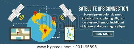 Satellite gps connection banner horizontal concept. Flat illustration of satellite gps connection banner horizontal vector concept for web