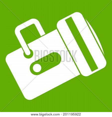 Flashlight icon white isolated on green background. Vector illustration