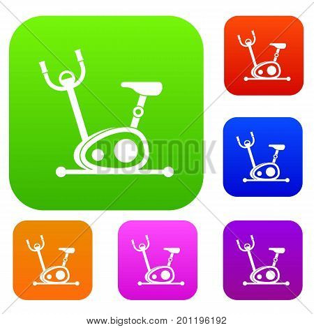 Exercise bike set icon in different colors isolated vector illustration. Premium collection