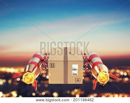 Package flies on the city for a quick delivery. 3D Rendering