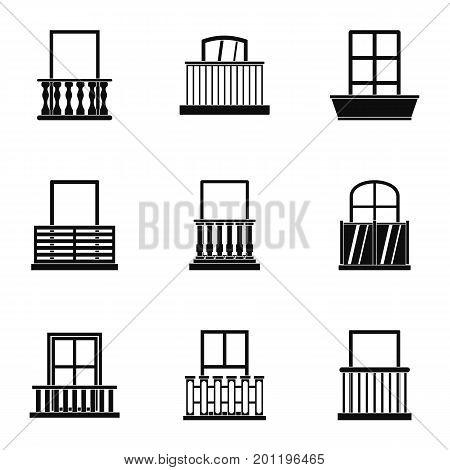 Architecture balcony icon set. Simple set of 9 architecture balcony vector icons for web isolated on white background