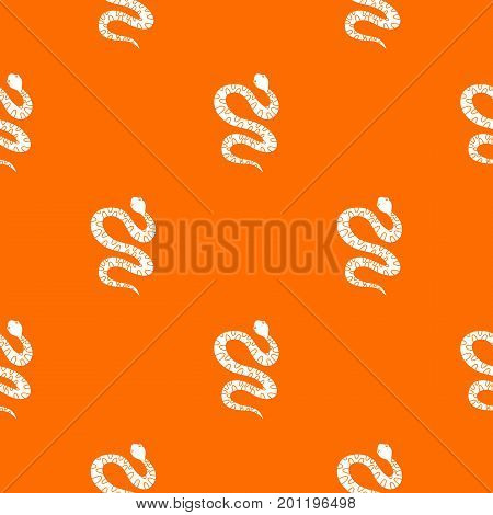 Black writhing snake pattern repeat seamless in orange color for any design. Vector geometric illustration