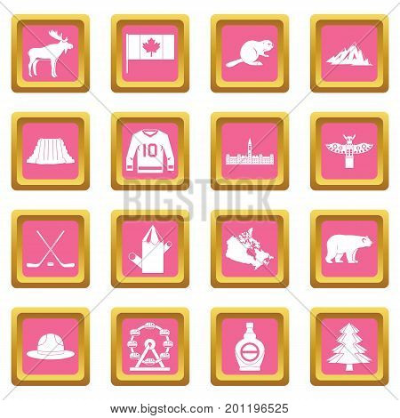 Canada travel icons set in pink color isolated vector illustration for web and any design