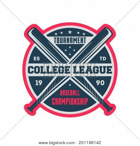 Baseball college league vintage isolated label. Sport competition symbol, athletic camp sign, team game vector illustration.