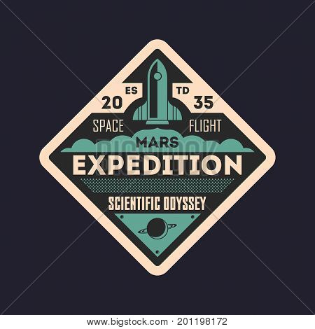 Martian scientific odyssey vintage isolated label. Mars mission symbol, modern spacecraft flying, planet colonization vector illustration.