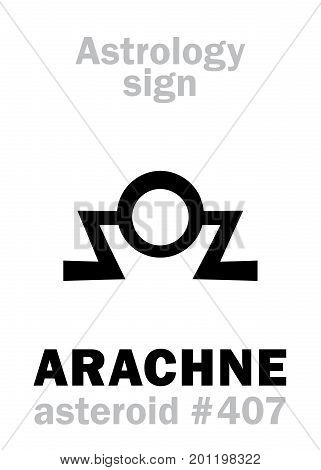 Astrology Alphabet: ARACHNE, asteroid #407. Hieroglyphics character sign (single symbol).