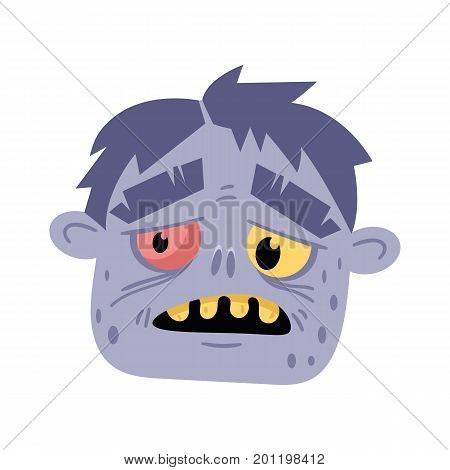 Monster head avatar in cartoon style. Halloween undead sign, scary dead man icon, zombie character vector illustration