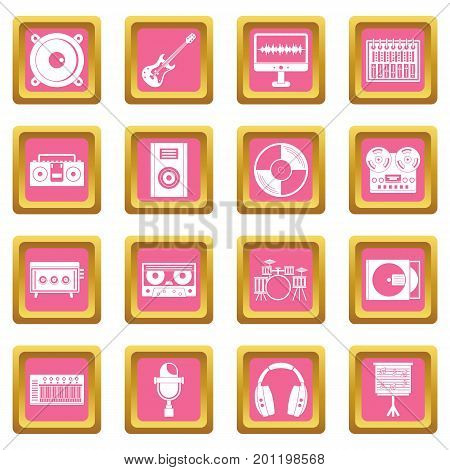 Recording studio items icons set in pink color isolated vector illustration for web and any design