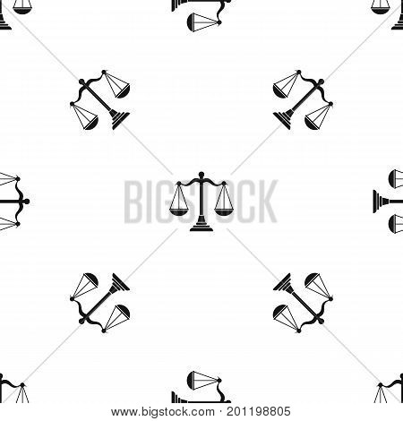 Balance scale pattern repeat seamless in black color for any design. Vector geometric illustration
