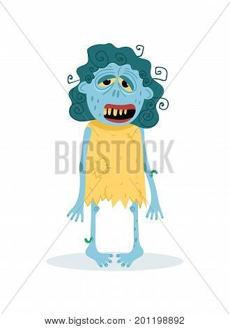 Funny blue female zombie character in cartoon style. Halloween zombie horror fantasy element, undead monster personage, zombie apocalypse vector illustration.