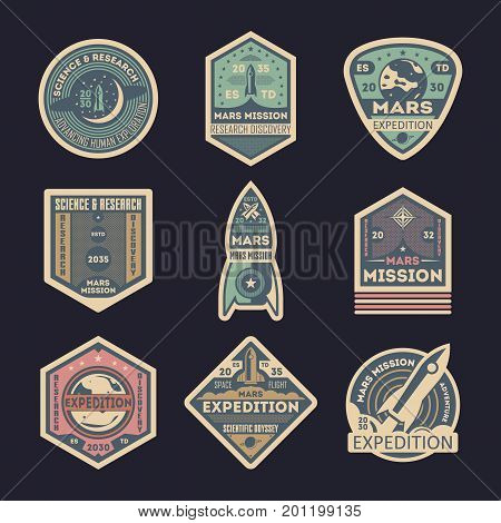 Mars expedition retro isolated label set. Space exploration badge, scientific odyssey symbol, modern spacecraft flying, martian discovery vector illustration. Planet colonization sign collection.