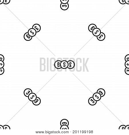 Euro, dollar, pound coin pattern repeat seamless in black color for any design. Vector geometric illustration