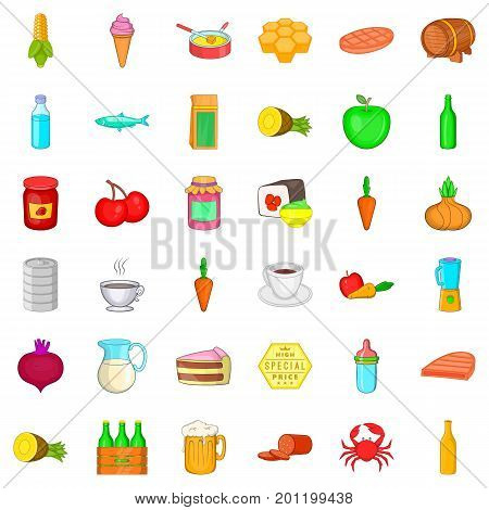 Nutrition icons set. Cartoon style of 36 nutrition vector icons for web isolated on white background
