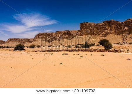 A sedimentary rock cliff in the desert south of Riyadh