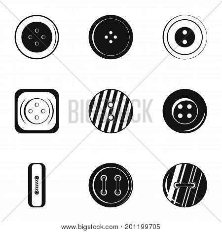 Clothes button accessory icon set. Simple set of 9 clothes button accessory vector icons for web isolated on white background