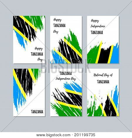 Tanzania Patriotic Cards For National Day. Expressive Brush Stroke In National Flag Colors On White