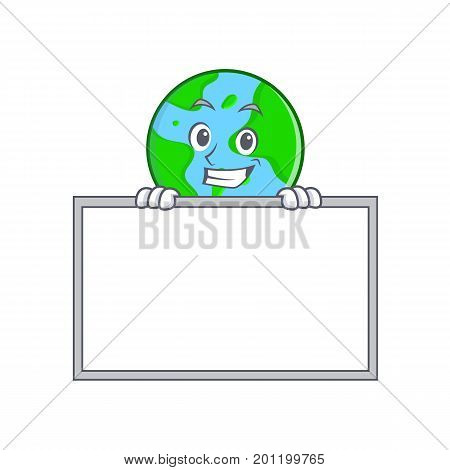 Grinning with board world globe character cartoon vector illustration