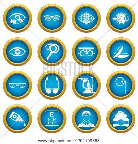 Ophthalmologist tools icons blue circle set isolated on white for digital marketing