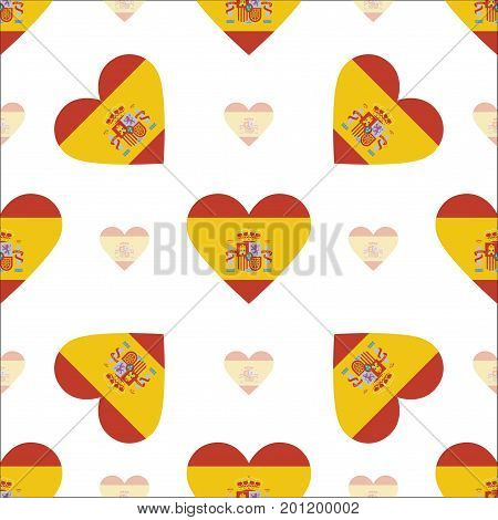 Spain Flag Patriotic Seamless Pattern. National Flag In The Shape Of Heart. Vector Illustration.