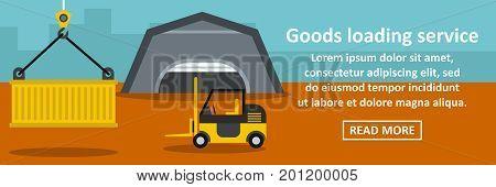 Goods loading service banner horizontal concept. Flat illustration of goods loading service banner horizontal vector concept for web
