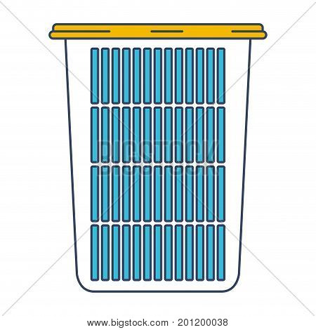 color blue and yellow sections silhouette of tall laundry basket without handles vector illustration