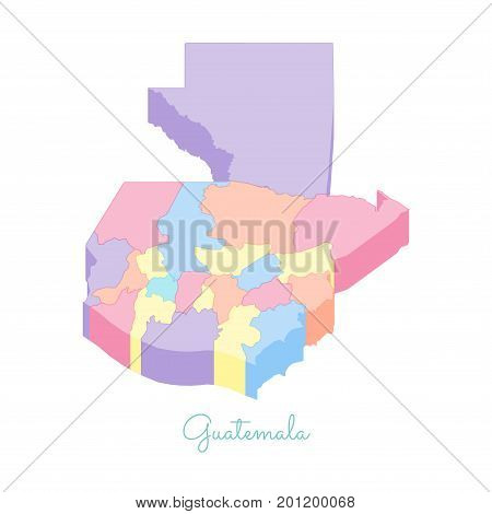 Guatemala Region Map: Colorful Isometric Top View. Detailed Map Of Guatemala Regions. Vector Illustr