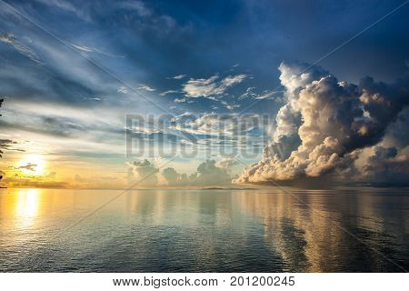 Majestic Oceanic Sunrise Above Sulu Sea. Stunning View Over Pacific Ocean Sunrise. Beautiful Dramati