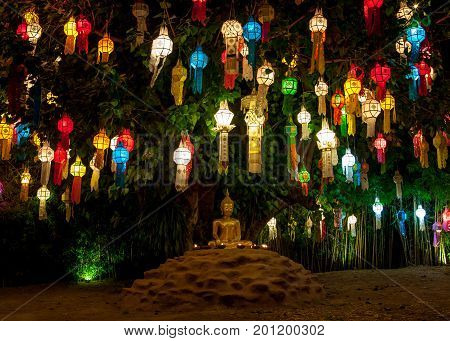 Colourful Lanterns Above Buddha Image During Loy Krathong In Thailand. Beginning Of Loy Krathong Fes