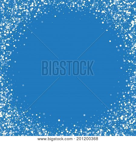 Random Falling White Dots. Corner Frame With Random Falling White Dots On Blue Background. Vector Il
