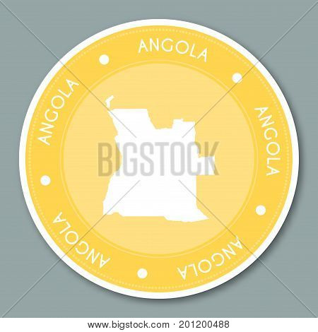 Angola Label Flat Sticker Design. Patriotic Country Map Round Lable. Country Sticker Vector Illustra