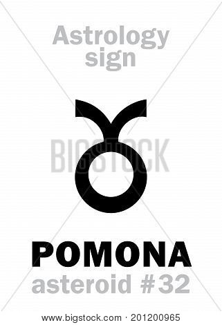 Astrology Alphabet: POMONA, asteroid #32. Hieroglyphics character sign (single symbol).