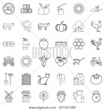 Tractor icons set. Outline style of 36 tractor vector icons for web isolated on white background
