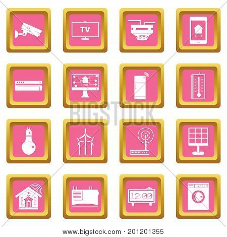 Smart home house icons set in pink color isolated vector illustration for web and any design