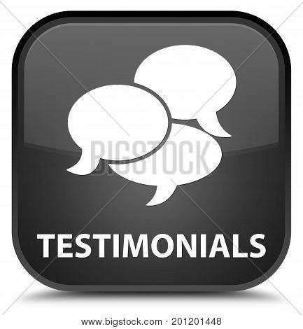 Testimonials (comments Icon) Special Black Square Button