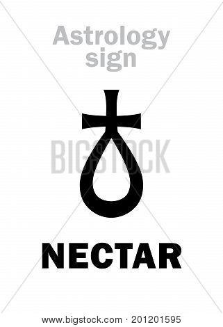 Astrology Alphabet: NECTAR, hypothetical asteroid. Hieroglyphics character sign (single symbol).