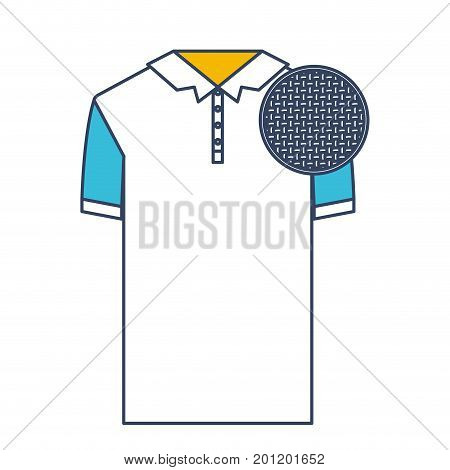 color blue and yellow sections silhouette of polo shirt short sleeve man and circle of macro textile pattern vector illustration