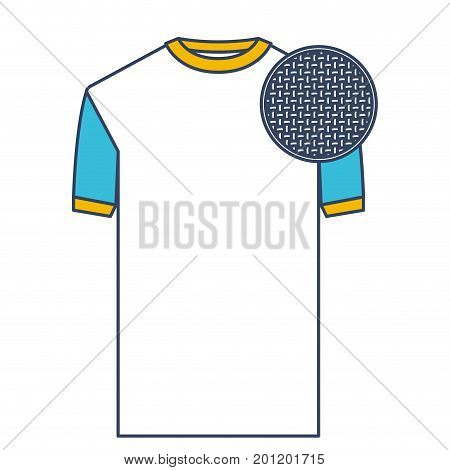 color blue and yellow sections silhouette of t-shirt man and circle of macro textile pattern vector illustration