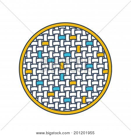 color blue and yellow sections silhouette of circle with macro seamless textile pattern vector illustration
