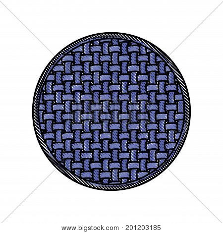 colored crayon silhouette of circle with macro seamless textile pattern vector illustration
