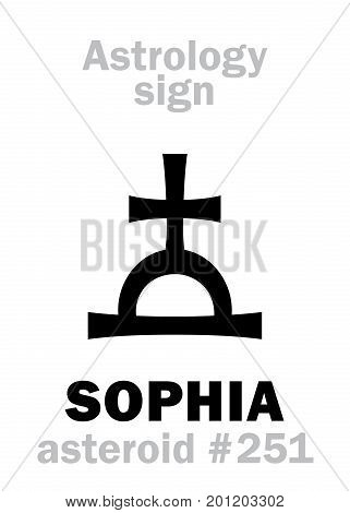 Astrology Alphabet: SOPHIA («Divine Wisdom»), asteroid #251. Hieroglyphics character sign (single symbol).