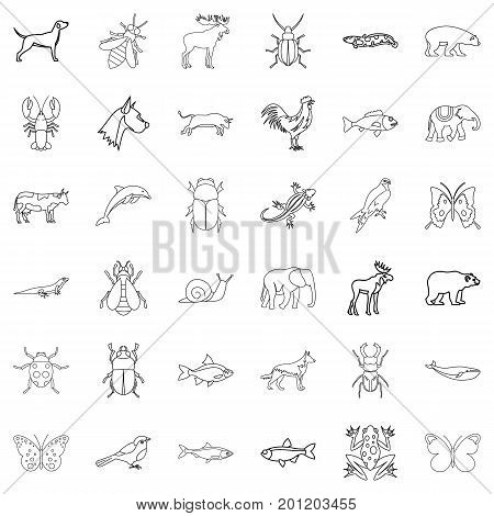 Mammal icons set. Outline style of 36 mammal vector icons for web isolated on white background