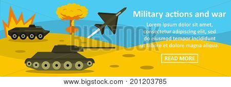 Military actions and war banner horizontal concept. Flat illustration of military actions and war banner horizontal vector concept for web