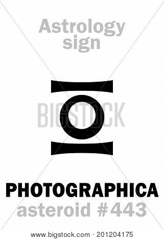 Astrology Alphabet: PHOTOGRAPHICA, asteroid #443. Hieroglyphics character sign (single symbol).