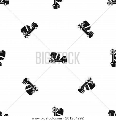 Concrete mixer truck pattern repeat seamless in black color for any design. Vector geometric illustration